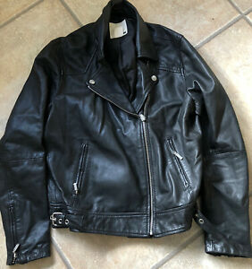 Levi's Black Leather Jacket Size M L biker Rocker Vtg Goat