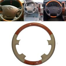 Tan Leather Wood Steering Wheel Cover for 03-07 Lexus LX470 GX470 Prado FJ120