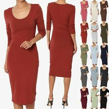 TheMogan 3/4 Sleeve Scoop Neck Stretch Cotton Jersey Bodycon Pencil Midi Dress