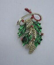Gerry's Signed Statement Pin Brooch Gold Christmas Pine Mistletoe Vintage Bin8