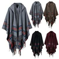 Women Knitted Top Poncho With Hood Cape Cardigan Coat Sweater Outwear New D6S4