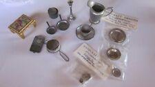 Vintage Miniature Dollhouse Needlepoint Footstool & Accessory Lot: Pewter&Metal