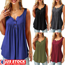 Womens Summer Tunic Tops Plus Size Solid Casual Beach Tank Top T Shirt Blouse