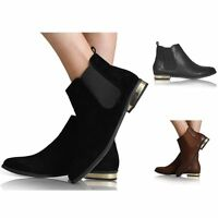 WOMENS LADIES PULL ON FLAT LOW HEEL CHELSEA GOLD TRIM RIDING ANKLE SHOE BOOTS