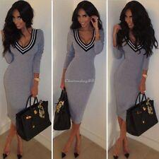 Women V Neck Knitted Long Sleeve Bodycon Slim Jumper Sweater Dress Knitwear Tops