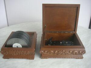 """Thorens Reuge AD30 Spieluhr Spieldose Swiss 10 Discs 4 1/2"""" Polyphon Kalliope"""