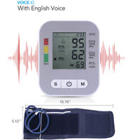 Upper Arm Blood Pressure Monitor Portable LED Display Pulse Tester BP Cuff Voice