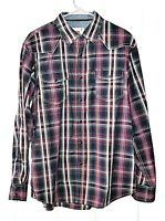 Dakota Grizzly Mens Size L Cotton Plaid Western Long Sleeve Pearl Snap Shirt