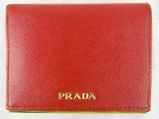 US seller Authentic PRADA SAFFIANO LEATHER SMALL WALLET Good RED