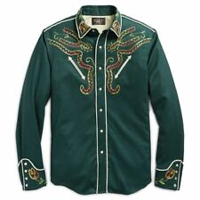 RRL Ralph Lauren Vintage Inspired Japanese Wool Embroidered Western Shirt--XL