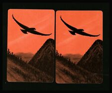 2 Playing Swap Cards US Lithograph Jokers Back - Soaring Bird Sunset Mountains