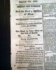 Abraham Lincoln Order for the Draft & Williamsport Wv Civil War 1864 Newspaper