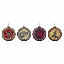 GAME OF THRONES HOUSE SIGIL Disk Shield Christmas Ornaments, Set of 4!