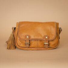 Massimo DUTTI Bronceado De Cuero De Hombro Bolso Bolso de Mano Cartera Bandolera Shopper Vintage