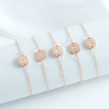 Rose Gold Girl Alphabet Letter Initial Friendship Bridesmaid Gift Chain Bracelet