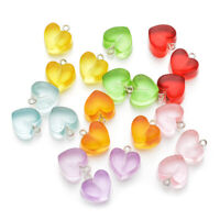 Transparent Necklace Crafting Resin Heart  Charms Keychain Pendant Candy Color