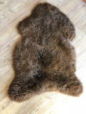 Genuine Real Natural Brown Sheepskin Rug Throw In Teddy Bear Brown