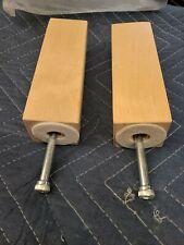 """2x Ikea Wood Legs for Karlstad Sofa 6"""" Tall + 2x Metric Screw Birch Part #117142"""