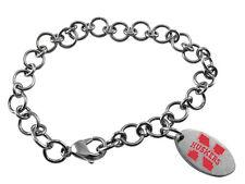 NEBRASKA CORNHUSKERS * Stainless Steel Logo Charm Bracelet * New NCAA Jewelry