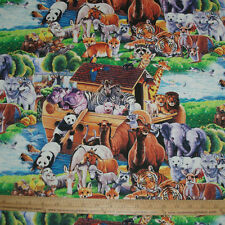 Cotton Fabric DIGITAL Noah's Ark Animals Elephant Giraffe Zebra Panda Fox  BTY