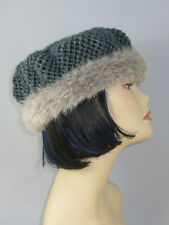 PRINTED KNITTING INSTRUCTIONS- SIMPLE LACE FUR TRIM BERET HAT KNITTING PATTERN