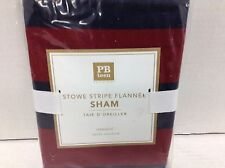 Pottery Barn PB Teen Stowe Stripe Flannel Bed Pillow 1 standard shams red navy