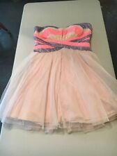 Strapless Party Dress Nude with Pink and Purple Sequin Bodice Size 9
