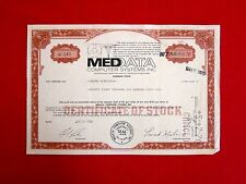Medata Computer Systems Delware Common Stock Certificate 1969  t7u
