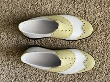 Biion Golf Shoes The Oxford Brights White Gold Men 7 Woman 9