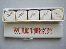 WILD TURKEY POKER DICE ADVERTISING X 5 WITH BOX VINTAGE PLAYING CARDS SYMBOL