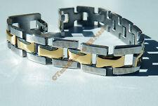 Bracelet Gourmette Acier Inox 3 Rang Or et Argent Celte