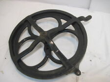 W OLD CAST IRON WHITE TREDDLE SEWING MACHINE WHEEL & COVER
