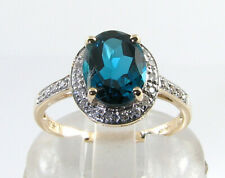 BIG 9K 9CT GOLD LONDON BLUE TOPAZ DIAMOND ART DECO INS  HALO RING FREE RESIZE