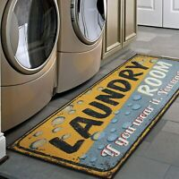 "Laundry Room Runner Rug Carpet Mat Non Slip 20x59"" Area Rug Non Skid Rubber Back"