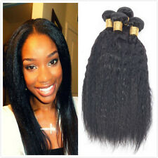 3 Bundles 100% Unprocessed Brazilian Kinky Straight  Human Hair Extension Weave