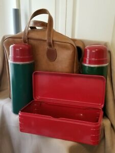 Vintage Aladdin Hy-Lo Vacuum Thermos Bottles And Bag Set