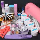 9W UV Dryer Lamp Nail Art Tools - Glitter Powders Full False Tips Gel Decor Set