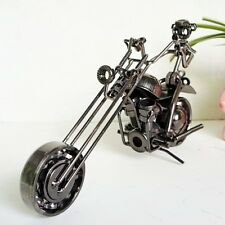 Scrap Metal Chopper Hand-Welded Iron Art Skeleton Rider Motorcycle Sculpture Toy