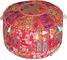 "22"" Burgundy Round Ottoman Pouf Stool Chair Tapestry Handmade Pouffe INDIA Decor"