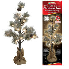 Pre-Lit 60cm LED Snowy Christmas Tree in a Hessian Bag Pine Cones Warm White