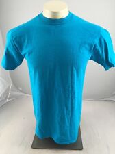 Vintage Jerzees Plain BLUE casual work crewneck SS tshirt Medium USA MADE BLANK