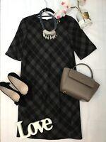 Jigsaw size 10 black wool checked work career business office dress vgc silk