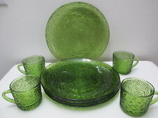 Vintage Soreno Glass Snack Set of 4 Plates & 4 Cups Avocado Green 1966-70