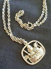 JORGEN JENSEN Pewter Viking in Ship Pendant & Necklace DENMARK