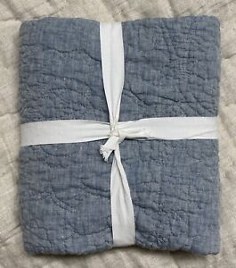 New Pottery Barn Chambray Belgian Flax Linen Floral Stitch Euro Pillow Sham Blue