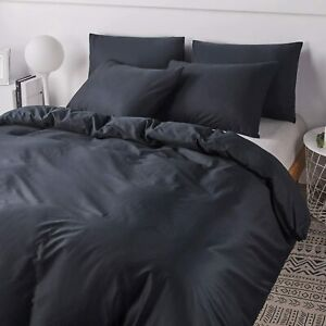 1000/1200TC Egypt Cotton Zipper closure ~Bedding Collection Black solid UK-Sizes