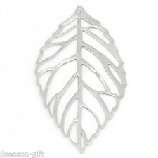 "100 PCs Charm Pendants Hollow Leaves Silver Tone 5.4cmx3.1cm(2 1/8""x1 2/8"")"