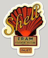 "SHELL FRAM FILTER LOGO VINTAGE DECAL 4.07"" x 5.00"" AMERICANA RRP £9"