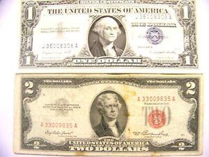 1957-A- $1 Dollar Silver Certificate Blue Seal & 1953- $2 Dollar Bill Red Seal.