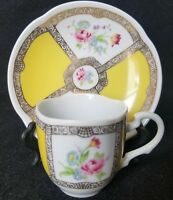 Vintage Avon Fine Collectibles 1985 Demitasse Teacup & Saucer Floral Gold Gilt